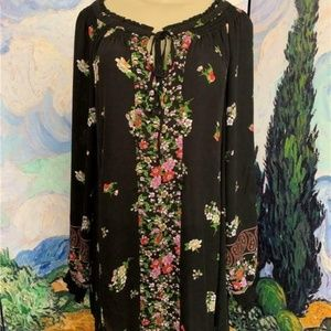 Woman Within Black Floral Print Tie Neck Tunic Top